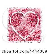 White Heart With Pink And Red Speckles On White