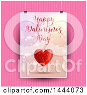 Clipart Of A Happy Valentines Day Card Hanging Over Pink Stripes Royalty Free Vector Illustration