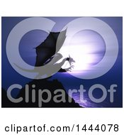 Clipart Of A 3d Dragon On Top Of A Coastal Cliff Royalty Free Illustration by KJ Pargeter