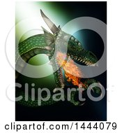Clipart Of A 3d Fire Breating Dragon On Green Royalty Free Illustration by KJ Pargeter