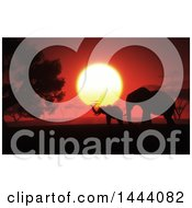 Clipart Of A Silhouetted Baby And Mother Elephant Against A 3d African Safari Sunset Royalty Free Illustration