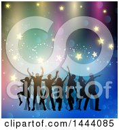 Group Of Silhouetted People Dancing Over Lights And Stars