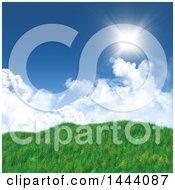 Clipart Of A 3d Landscape Background Of Blue Sky With Clouds And Grassy Hills Royalty Free Illustration
