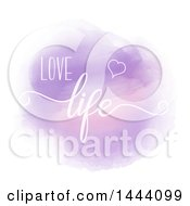 Clipart Of A Purple Watercolor Circle With Love Life Text Royalty Free Vector Illustration by KJ Pargeter