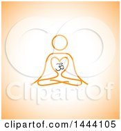 Clipart Of A Simple Orange Meditating Person And Om Symbol On Orange Royalty Free Vector Illustration by ColorMagic