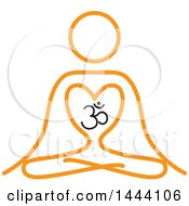 Clipart Of A Simple Orange Meditating Person And Om Symbol Royalty Free Vector Illustration by ColorMagic