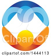 Clipart Of A Blue And Orange Couple Dancing Or Holding Hands And Forming A Circle Royalty Free Vector Illustration