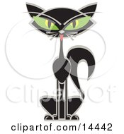 Black Siamese Cat With Big Green Eyes Clipart Illustration