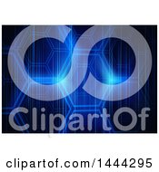 Clipart Of A Background Of Abstract Blue Hexagons And Lights Royalty Free Vector Illustration by dero