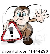 Clipart Of A Cartoon Beetle Holding An Alert Sign Royalty Free Vector Illustration