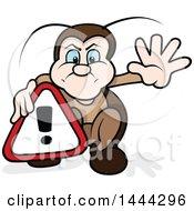 Cartoon Beetle Holding An Alert Sign
