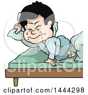 Clipart Of A Cartoon Boy Crying At Nap Time Royalty Free Vector Illustration