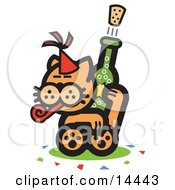 Orange Cat Wearing A Party Hat Blowing A Party Blower And Popping A Cork Off Of A Bottle Of Champagne Clipart Illustration by Andy Nortnik