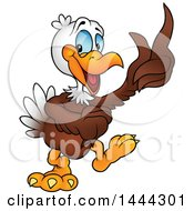 Clipart Of A Cartoon Bald Eagle Holding Up A Feather Royalty Free Vector Illustration by dero