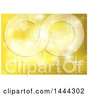 Clipart Of A Background Of Yellow Flares And Sparkles Royalty Free Vector Illustration