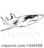 Clipart Of A Black And White Swimming Lemon Shark Royalty Free Vector Illustration
