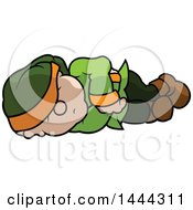 Clipart Of A Cartoon Dwarf Sleeping On His Side Royalty Free Vector Illustration by dero