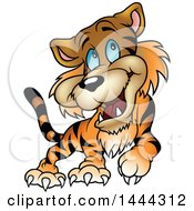 Clipart Of A Cartoon Happy Blue Eyed Tiger Walking Royalty Free Vector Illustration