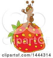 Clipart Of A Cartoon Ant Waving And Standing On A Strawberry Royalty Free Vector Illustration