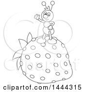 Cartoon Black And White Ant Waving And Standing On A Strawberry