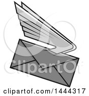 Grayscale Envelope With Wings