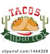 Clipart Of A Cruncy Taco With Text Cactus Chili Pepper And Banner Royalty Free Vector Illustration by Vector Tradition SM