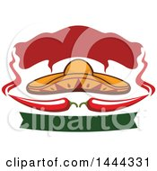 Clipart Of A Mexican Sombrero Hat With Chili Peppers Steam And Banners Royalty Free Vector Illustration by Vector Tradition SM