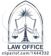 Clipart Of A Blue Open Book Sun And Scales Of Justice Over Law Office Text Royalty Free Vector Illustration