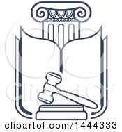 Clipart Of A Dark Blue Pillar Book And Gavel Royalty Free Vector Illustration