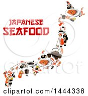 Clipart Of A Sushi Map With Japanese Seafood Text Royalty Free Vector Illustration