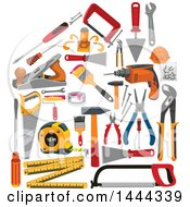 Clipart Of A House Formed Of Tools Royalty Free Vector Illustration