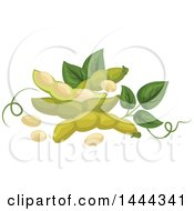 Clipart Of Soybeans Pods And Leaves Royalty Free Vector Illustration by Vector Tradition SM