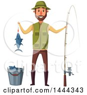 Happy Man Holding His Caught Fish And Standing With A Pole By A Bucket