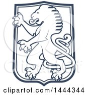 Clipart Of A Blue Shield With A Rambant Lion Royalty Free Vector Illustration