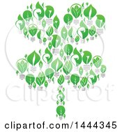 Poster, Art Print Of Four Leaf Shamrock Cloer Made Of Green Leaf Light Bulbs
