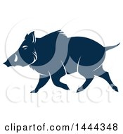 Clipart Of A Navy Blue Razorback Boar With A White Outline Royalty Free Vector Illustration