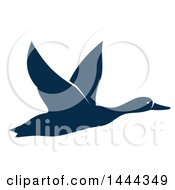 Clipart Of A Navy Blue Flying Duck Or Goose With A White Outline Royalty Free Vector Illustration by Vector Tradition SM