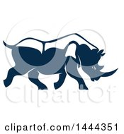 Navy Blue Rhinoceros With A White Outline