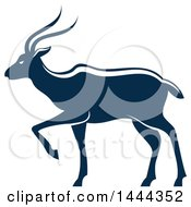 Clipart Of A Navy Blue Gazelle Antelope With A White Outline Royalty Free Vector Illustration by Vector Tradition SM