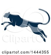 Clipart Of A Navy Blue Leaping Big Cat With A White Outline Royalty Free Vector Illustration by Vector Tradition SM