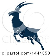 Clipart Of A Navy Blue Mountain Goat With A White Outline Royalty Free Vector Illustration by Vector Tradition SM