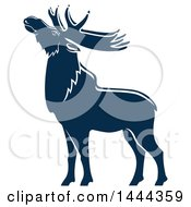 Clipart Of A Navy Blue Elk With A White Outline Royalty Free Vector Illustration by Vector Tradition SM