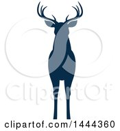 Clipart Of A Navy Blue Silhouetted Deer Buck Stag Royalty Free Vector Illustration