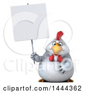 3d Chubby White Chicken Holding A Blank Sign On A White Background