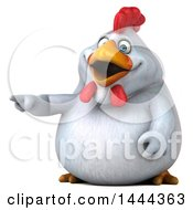 Clipart Of A 3d Chubby White Chicken Pointing On A White Background Royalty Free Illustration