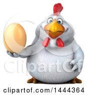 Clipart Of A 3d Chubby White Chicken Holding An Egg On A White Background Royalty Free Illustration