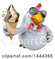 3d Chubby White Chicken Holding Up A Waffle Ice Cream Cone On A White Background