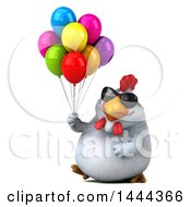Poster, Art Print Of 3d Chubby White Chicken Walking With Party Balloons On A White Background