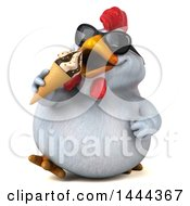 3d Chubby White Chicken Eating A Waffle Ice Cream Cone On A White Background