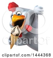 3d Chubby White Chicken Eating A Waffle Ice Cream Cone Around A Sign On A White Background